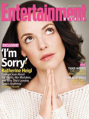 Modląca się Katherine Heigl na okładce Entertainment