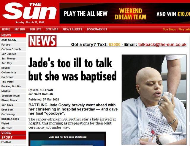 Jade Goody nie żyje