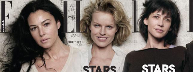 Bellucci, Herzigova i Marceau bez makijażu w Elle