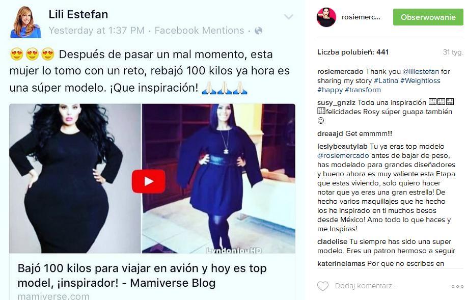 SZOK! Rosie Mercado, modelka XL, schudła ponad 110 kg i dostała życzenia śmierci