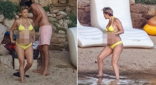 Kate Hudson z OGROMNYM ciążowym brzuszkiem na plaży w Grecji! (ZDJĘCIA)
