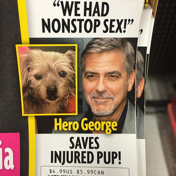 Bohaterski George Clooney sąsiaduje z tytułem artykułu o erotycznych wybrykach pewnej pary. I już mamy zabawny miks.