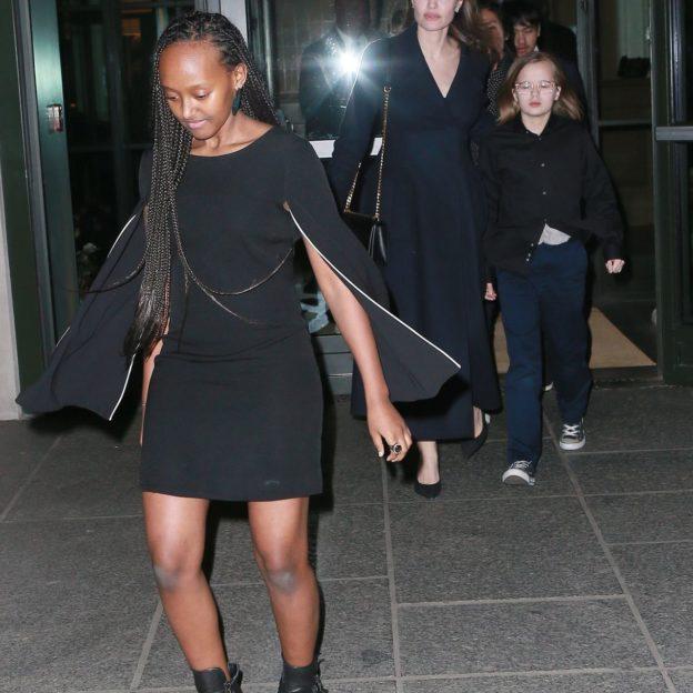 Angelina Jolie and her kids leave movie screening at the Crosby Hotel Angelina Jolie, Vivienne Jolie-Pitt, Zahara Jolie-Pitt