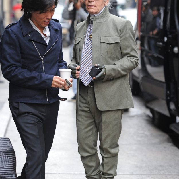 MANHATTAN - OCTOBER 23:  German fashion designer Karl Lagerfeld out in Soho on OCTOBER 23, 2012 in New York City, New York