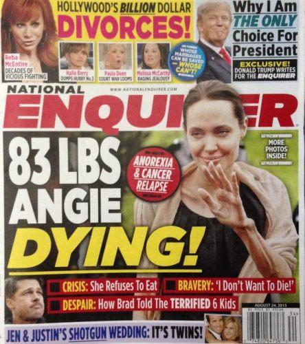 Przesadzili? Tabloid pisze, że Angelina Jolie umiera