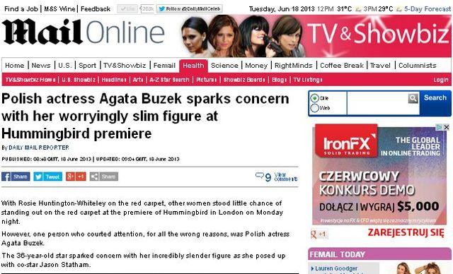 Daily Mail zszokowany chudością Agaty Buzek