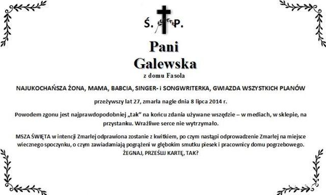 Nekrolog na Facebooku uczestniczki The Voice of Poland FOTO