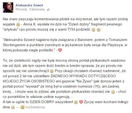 Aleksandra Szwed ostro komentuje plotki o swojej ciąży