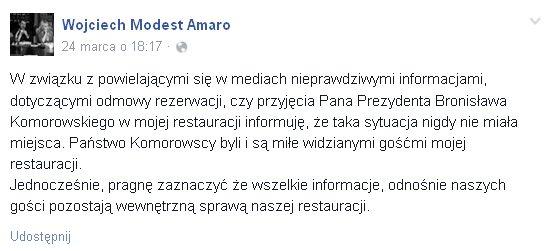 Amaro: Nie odmówiłem rezerwacji prezydentowi