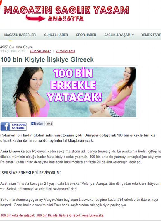 Polka postanowiła zaliczyć 100 tys. facetów (FOTO)