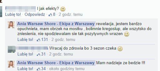 Zoperowana Ania z Warsaw Shore już pokazała biust (FOTO)