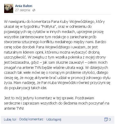 Kuba Wojewódzki krytykuje Anię Bałon