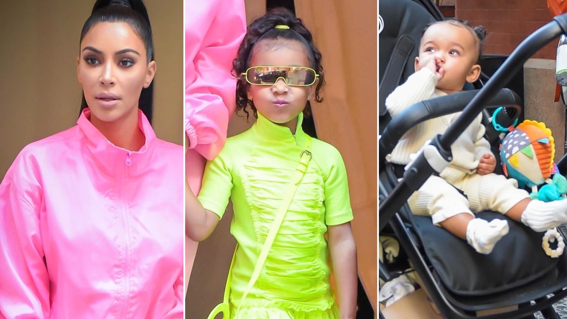 Kim Kardashian z dziećmi w Nowym Jorku