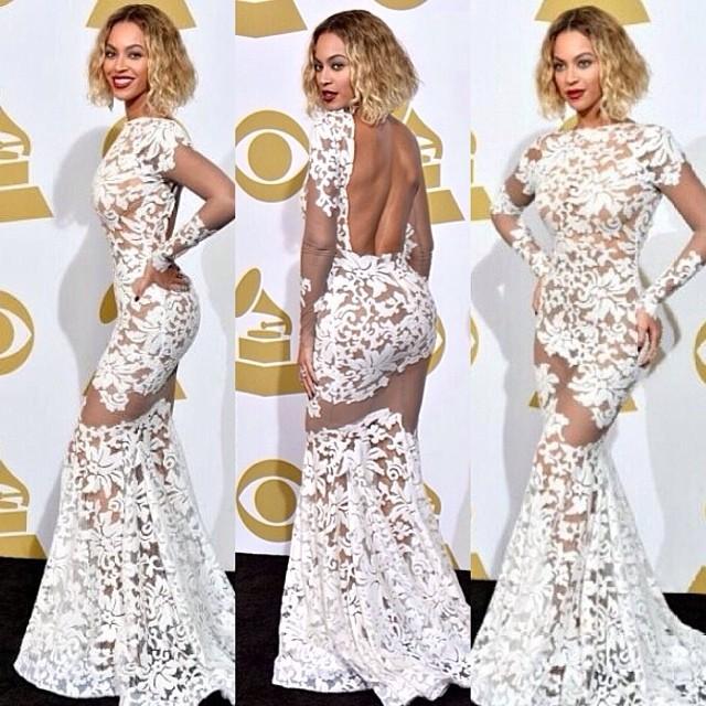 Beyonce odchudzała się przed występem na rozdaniu Grammy? - beyonce biała suknia