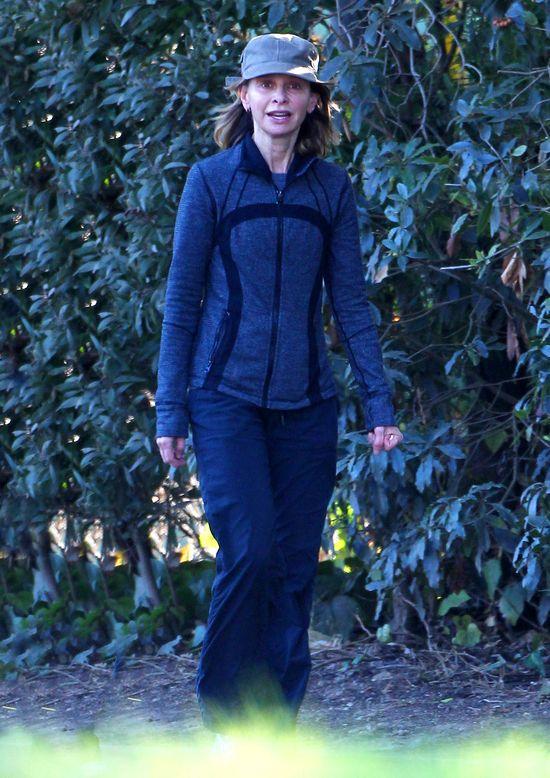 Chudziutka Calista Flockhart uprawia jogging (FOTO)