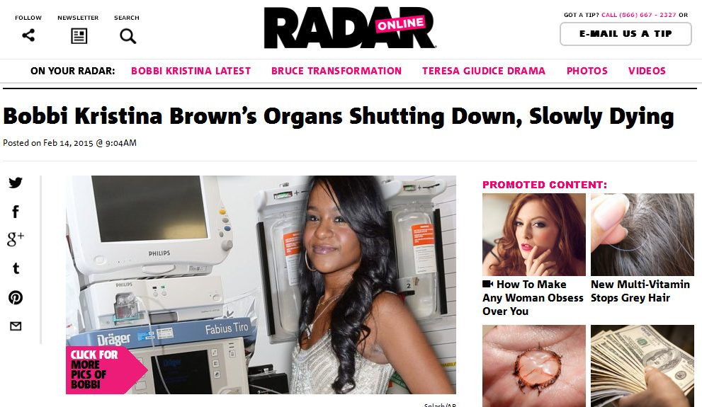 Bobbi Kristina Brown powoli umiera