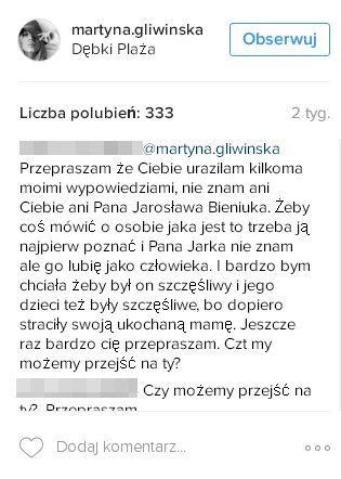 Oliwia Bieniuk, córka Anny Przybylskiej komentuje na profilu Martyny Gliwińskiej