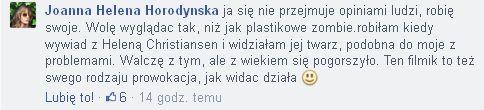 Joanna Horodyńska tłumaczy się z nieidealnej cery