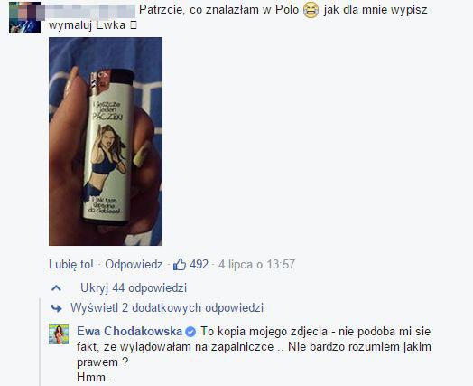 Afera z Ewą Chodakowską na zapalniczce (FB)