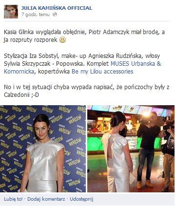 Julia Kamińska tłumaczy się z seskownej kreacji (FOTO)