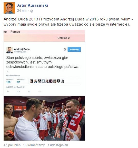 Pami�tacie, jak Andrzej Duda narzeka� na pi�karzy? (FB)