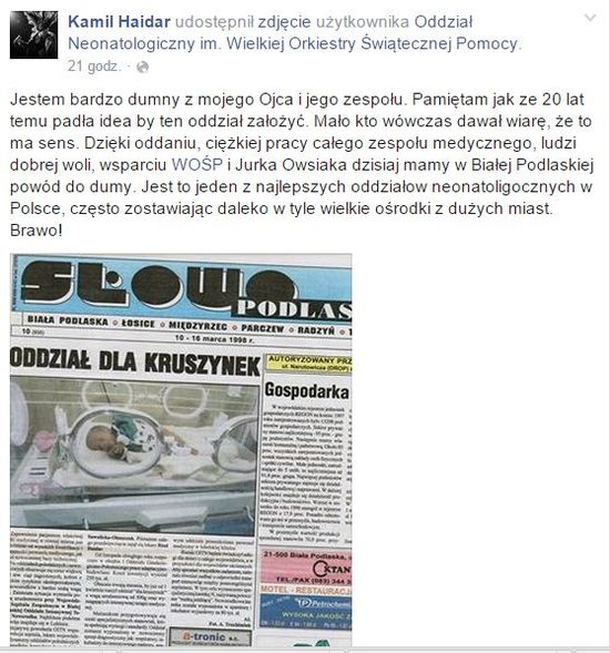 Kamil Haidar zamieścił wzruszający wpis na FB