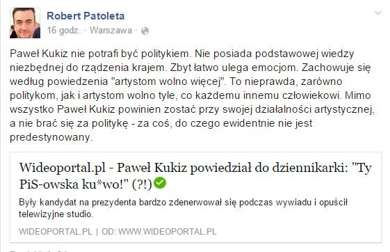 Robert Patoleta ostro pojechał po Pawle Kukizie