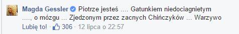 Magdzie Gessler puściły nerwy na FB