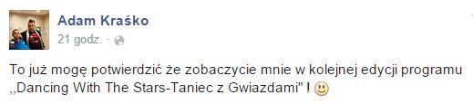 Adam Kraśko pochwalił się na FB intratną propozycją