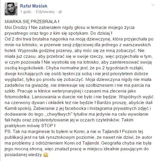 Rafał Maślak o swojej dziewczynie: Miarka się przebrała!