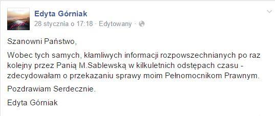 Manedżer Sablewskiej o zapowiadanym pozwie Edyty Górniak