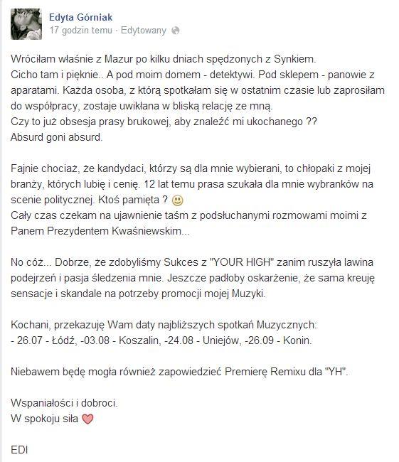 Edyta Górniak: Wracam, a pod moim domem detektywi