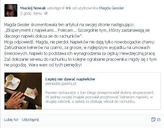 Maciej Nowak do Magdy Gessler: Nie pier*ol!