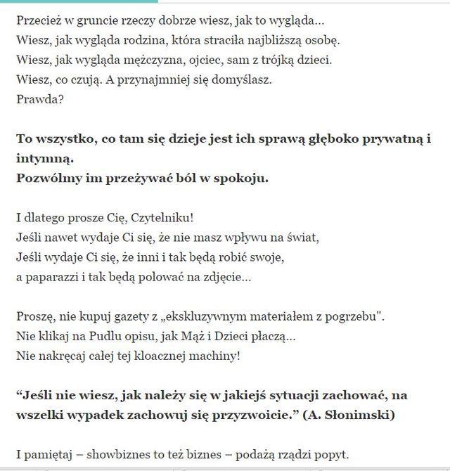 Mucha o Przybylskiej: Od poniedziałku  koczują paparazzi