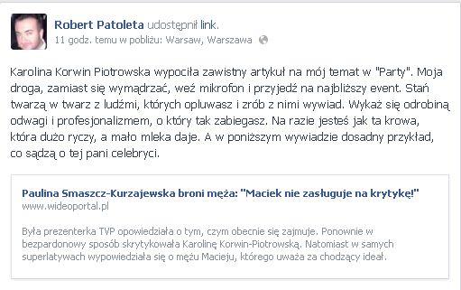 Robert Patoleta do Korwin-Piotrowskiej: Jesteś jak ta krowa!