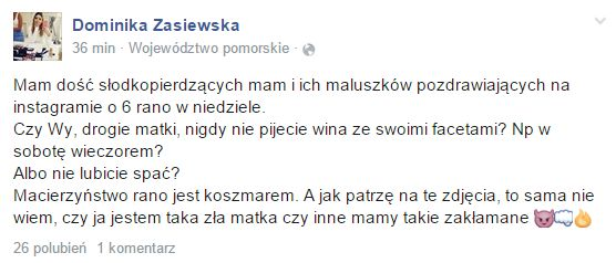 Zasiewska: Czy ja jestem złą mamą, czy inne są zakłamane? FB