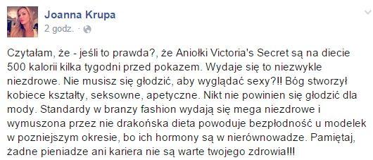 Joanna Krupa na FB ostro pojechała po aniołkach VS