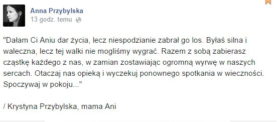 Opublikowano list pożegnalny Przybylskiej