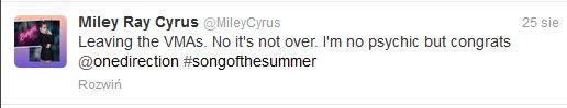 Co Miley Cyrus sądzi o swoim występie podczas VMA 2013?
