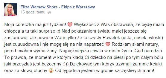 Eliza z Warsaw Shore zdradziła szczegóły porodu