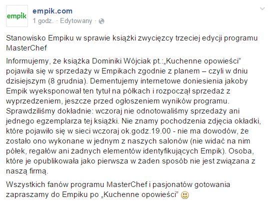 Jest oświadczenie Empiku wsprawie książki z MasterChefa