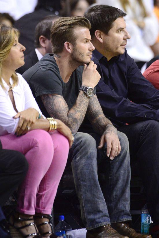 David Beckham śledzi mecz