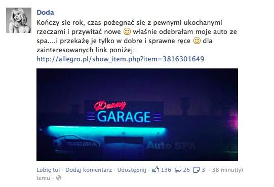 Doda sprzedaje samochód na Allegro