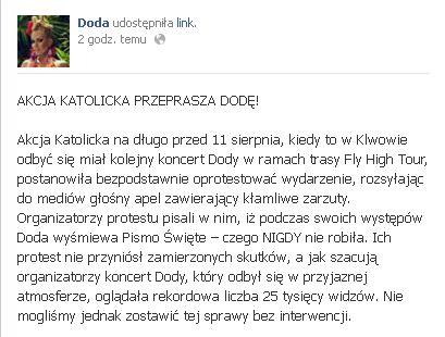 Akcja Katolicka przeprosiła Dodę