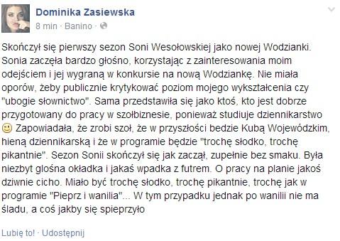 Dominika Zasiewska jedzie po Soni Wesołowskiej