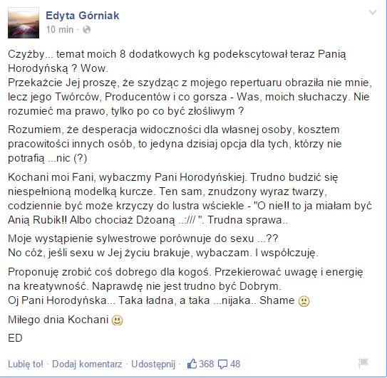 Edyta Górniak ostro dopiekła Joannie Horodyńskiej