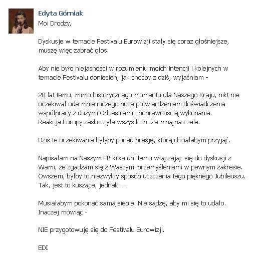 Górniak skomentowała doniesienia o jej udziale w Eurowizji