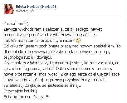 Edyta Herbuś komentuje aferę z Małgorzatą Herde?
