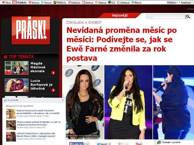Czeski portal Prásk!: Je podle vás Ewa Farna tlustá?