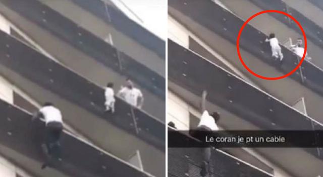 Dziecko zwisające z balkonu! Na pomoc przyszedł SPIDERMEN!